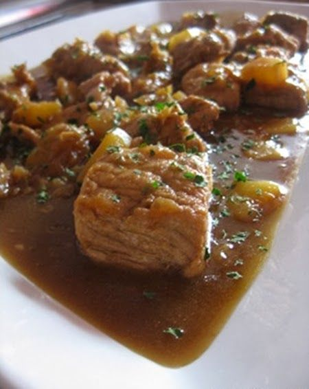 Varomeando: Carne de cerdo con piña y salsa de soja