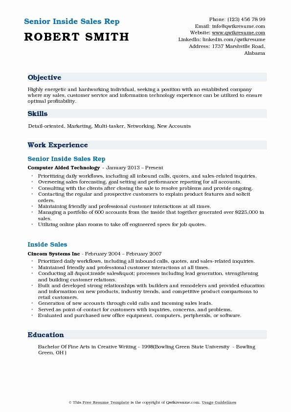 20 Inside Sales Representative Resume In 2020 Job Resume