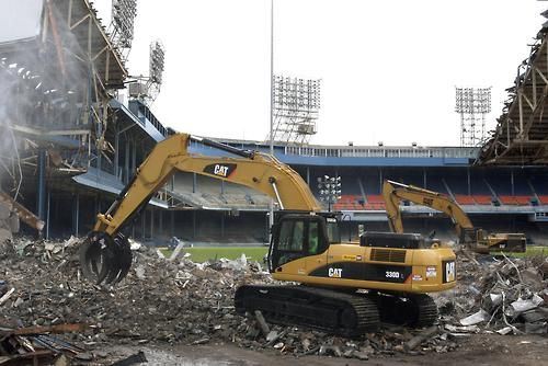 Demolition of Tiger Stadium. Detroit, Michigan. .