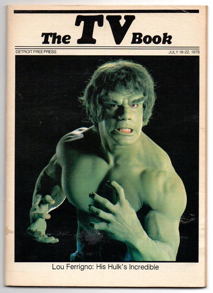 The Detroit Free Press TV Book - July 16-22, 1978. Lou Ferrigno as The Incredible Hulk.