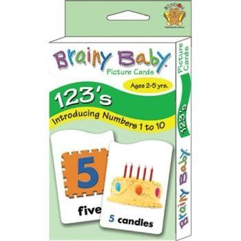 "Brainy Baby Flash Cards (48 Pack) by Brainy Baby. $190.26. Brainy Baby Learning Cards with Stickers 123's ages 3 & up 3-3/4"" x 7""."