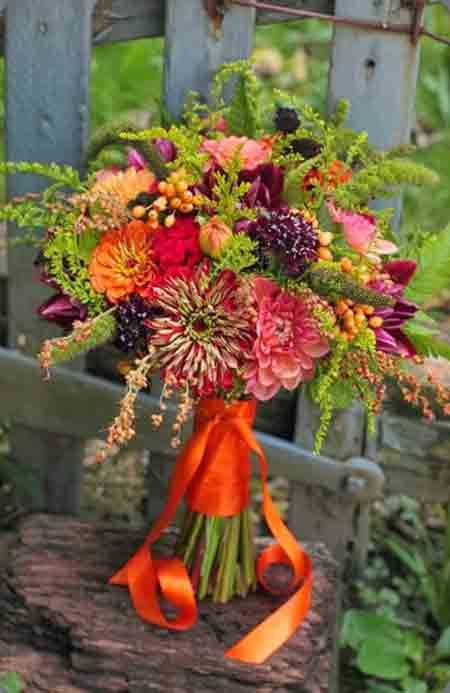 July Wedding Flower Bouquet Bridal Flowers Arrangements Zinnia Orange Bouquets
