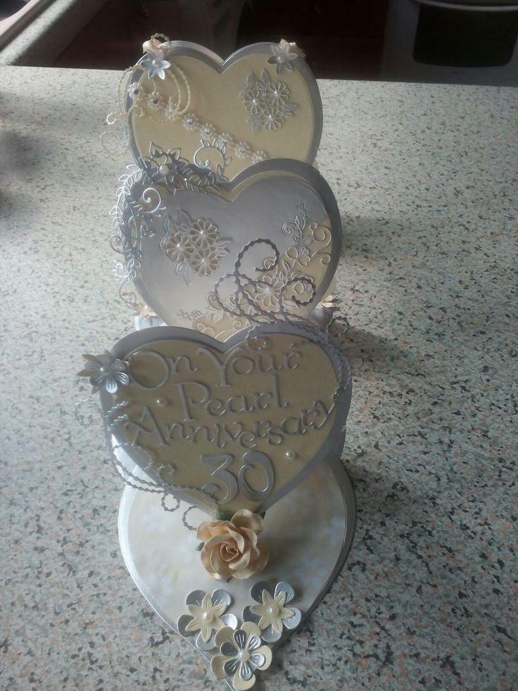 Pearl Anniversary triple heart easel card