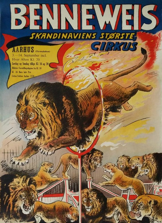 1950s Circus Benneweis Original Vintage Poster by OutofCopenhagen