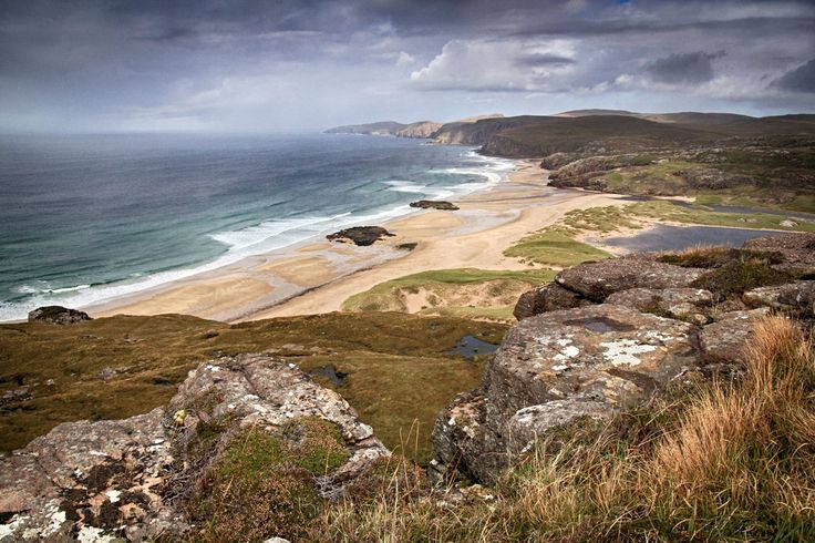 Sandwood Bay up in the very north west corner of Scotland. Cape Wrath is the last headland in the distance.