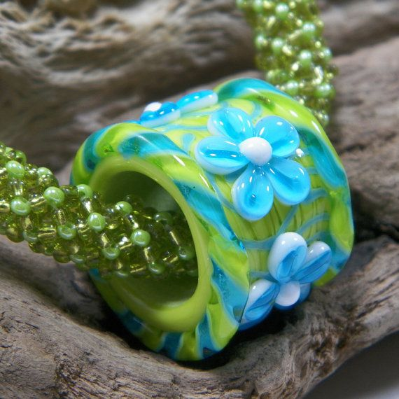 large hole lime green and turquoise blue lampwork barrel slider bead by starlight designs