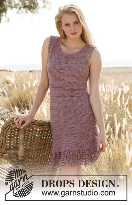 """Crochet DROPS dress with lace pattern at the bottom and buttons in the side in """"Muskat"""".    Free pattern by DROPS Design."""