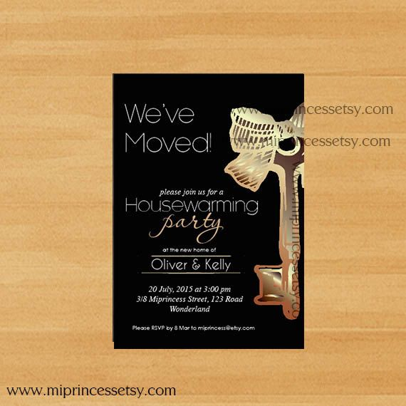Housewarming Invitation New house KEY design by miprincess on Etsy
