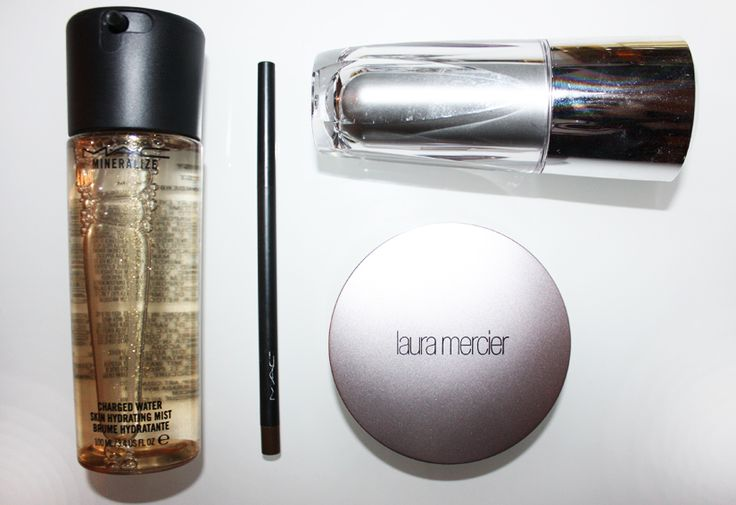 beauty essentials: MAC Mineralize charged water, Laura Mercier tinted moisturizer compact, MAC eye brow pencil and Artistry eye cream
