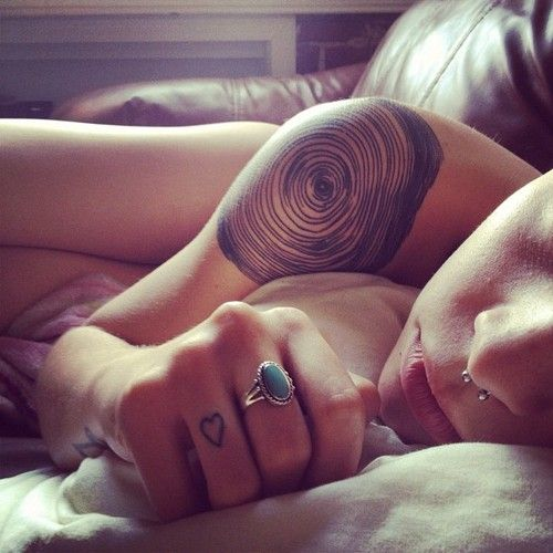 Tree rings; shoulder tattoo