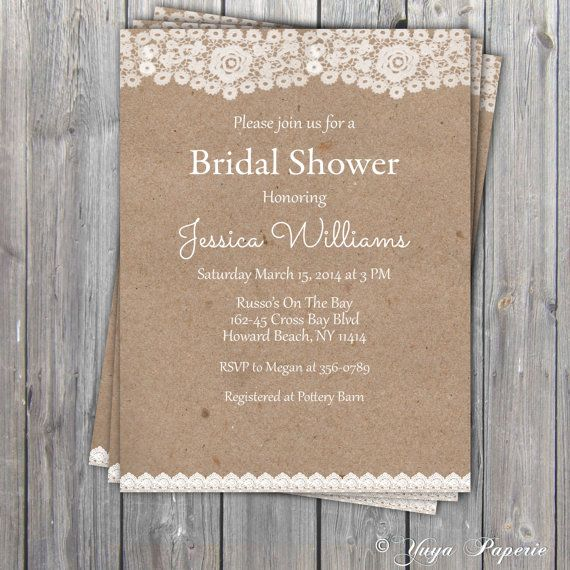 Lace Rustic Bridal Shower Invitation, Adult party invitation, Shabby chic Invitation printable