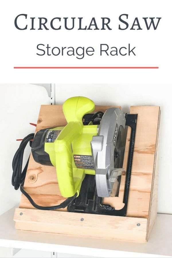DIY Woodworking Ideas Keep your circular saw stored upright and ready to go! This circular saw storage...