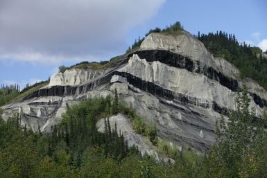 Sub-Bituminous Coal: Sub-bituminous coal seams in Alaska outcropping.