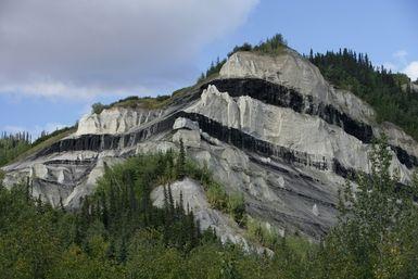 Sub-Bituminous Coal: Sub-bituminous coal seams in Alaska outcropping.