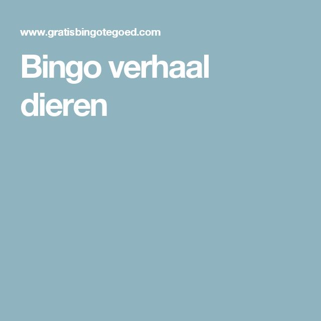 Bingo verhaal dieren