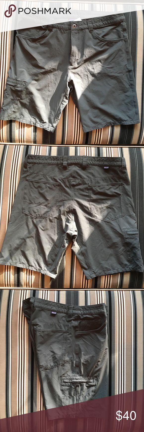Men's Patagonia Gray Shorts Excellent condition. Side pocket is a zipper closure. 96% nylon, 4% spandex Patagonia Shorts
