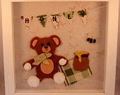 Teddy Bear's Picnic - handmade felt wall art in a wooden shadow box frame, personalised with mini-bunting.
