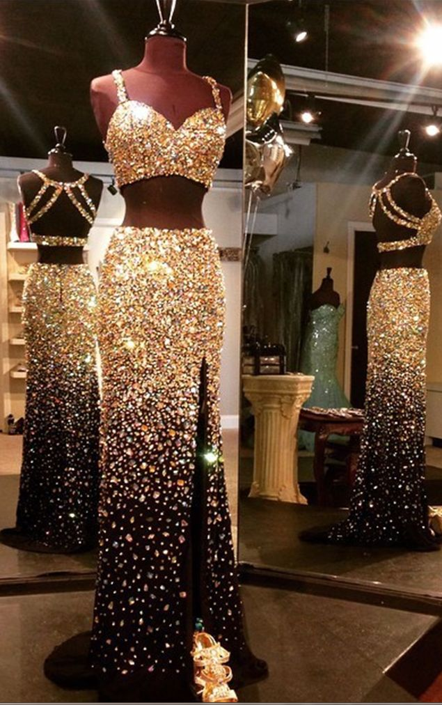 Dazzling Luxury Gold Crystal Rhinestone 2 Piece Prom Dresses Real Images Backless High Front Split Sexy Black Prom Dress
