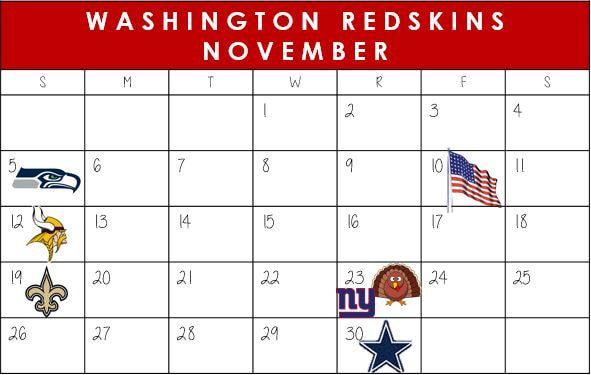 Washington Redskins November Schedule 2017  #WashingtonDC #Redskins #NFLSchedule #JordinsTurf