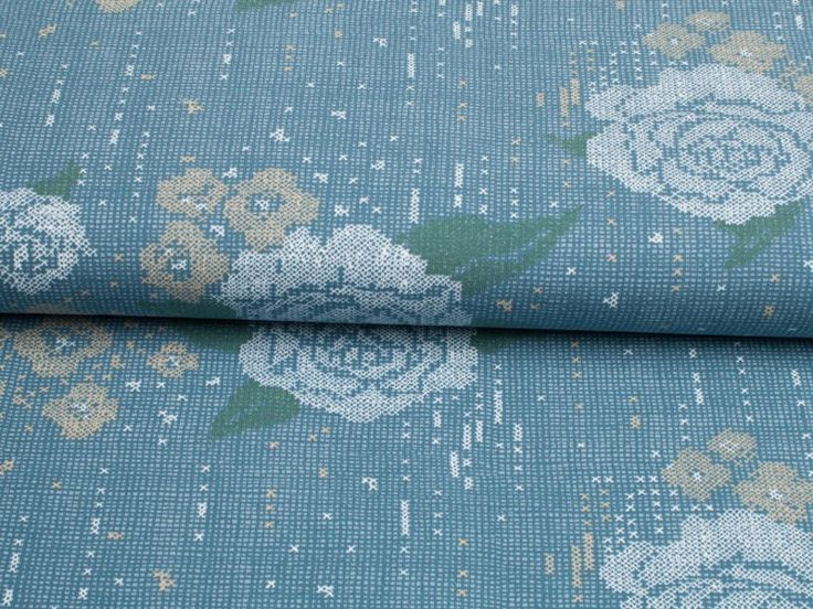 Sweat Lillestoff Kreuzstichrose blau