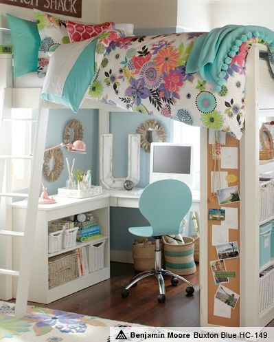 teen girl loft bed with homework station - love it! With different colors and decor, would also work for a boy.