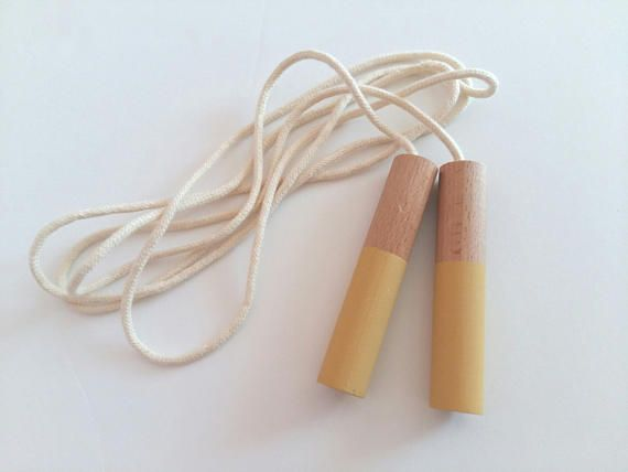 Jump Rope  Skipping Rope with wooden handles and cotton rope
