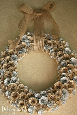 Wreath made from old book pages