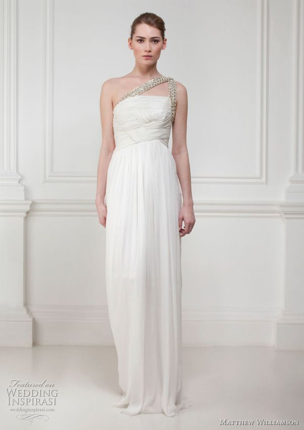 Grecian style chiffon gown with soft pleating at bodice and Swarovski asymmetric straps.
