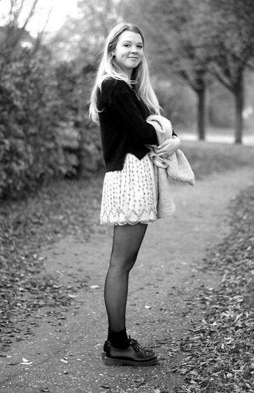 H&M Black Jumper, Zara Sequins Skirt, Low Dr. Martens