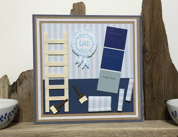 This great card is perfect for any dad whos into DIY and painting.  Suitable as a Birthday Card or Fathers Day Card, this Greeting Card for Dad features:  * Masculine colours * Wooden ladder * Paintbrushes * Wallpaper rolls * Worlds Best Dad rosette * Real Paint Chips  Measuring approx 6 x 6 this is a fabulous card for any Dad.  Posted in a hard-back envelope to prevent damage.   For sneak peeks why not follow me on Instagram & Twitter. www.instagram.com/sarahloucards/ www.twitt...