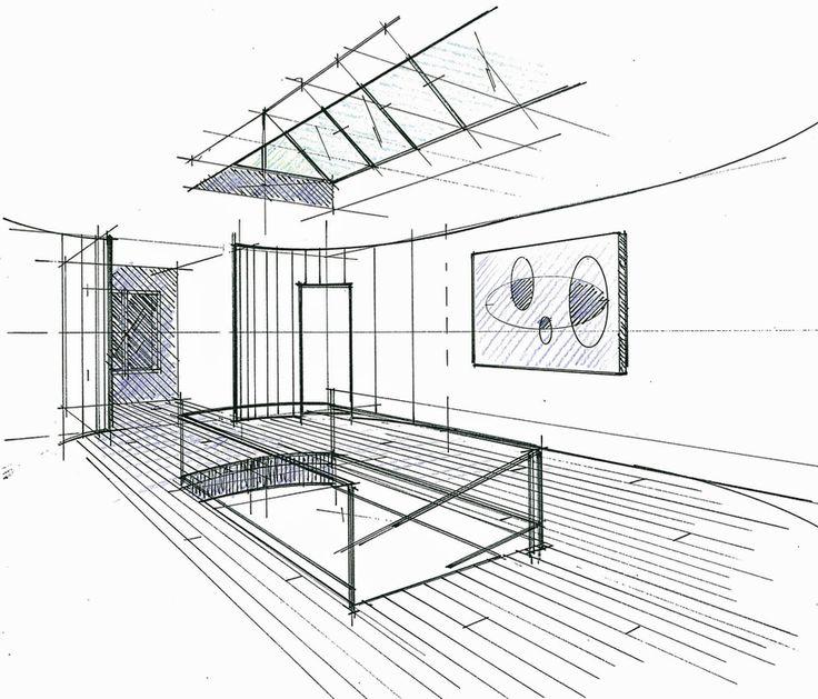 Croquis du palier d'un hôtel particulier à Maisons-Laffite Philippe Ponceblanc Architecte d'intérieur http://www.architecte-interieur.com