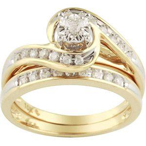 1 3 Carat Diamond Yellow Gold Bypass Bridal Ring Set 27900