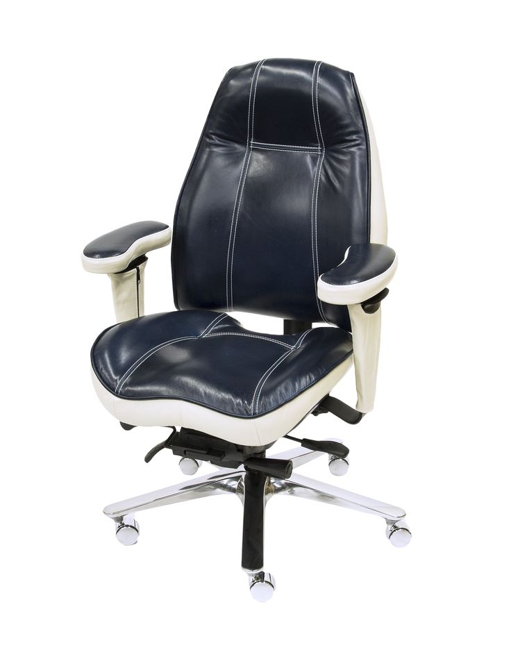 Thick White Contrast Stitching on 2490 Mid Back Ultimate Executive Chair in Echo Blue Marlin Premium Leather.  Also includes Mont Blanc Ivory Premium Leather Two Tone Upgrade, Coccyx Cut Out (Rear Seat), Upholstered Arm Sleeves and Ventra Aluminum Base with All Chrome Casters.