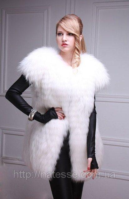 Arctic white fox natural real fur vest natural real fur gilet fur waistcoat fur sleeveless coat (skins cut into stripes) Length=77 cm