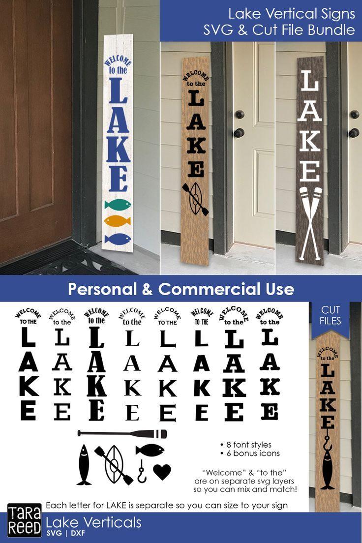 Lake Vertical Sign Bundle Lake signs, Porch signs, Front