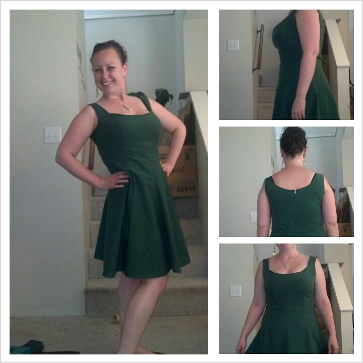 Green with polka dots!! Princess seam with a zipper back. I love this dress, its funny because I found the fabric a little ugly but i liked it anyways and now i looove this dress. #twelfthletterapparel
