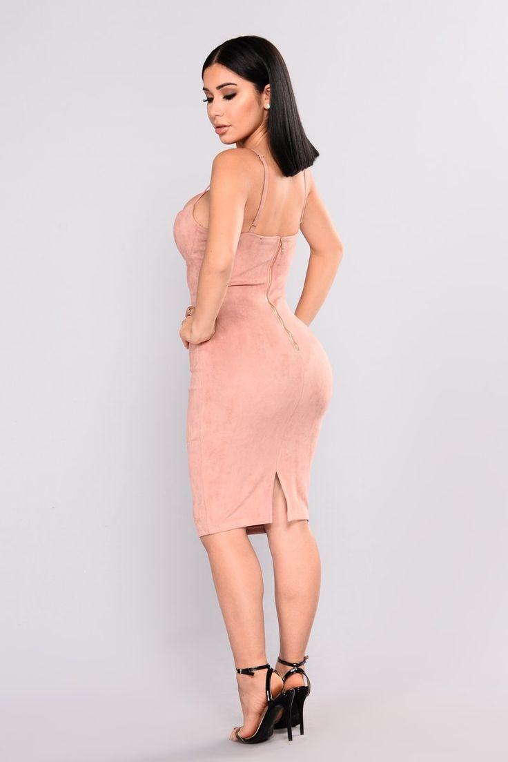 Ria Suede Dress - Blush