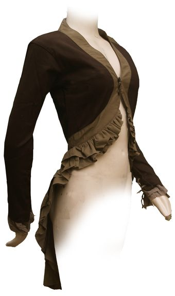 Bolero with fishtail hem.