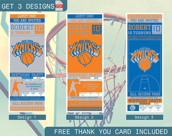 graphic relating to Knicks Printable Schedule named Clean York Knicks Birthday Invitation, Printable Ticket Celebration