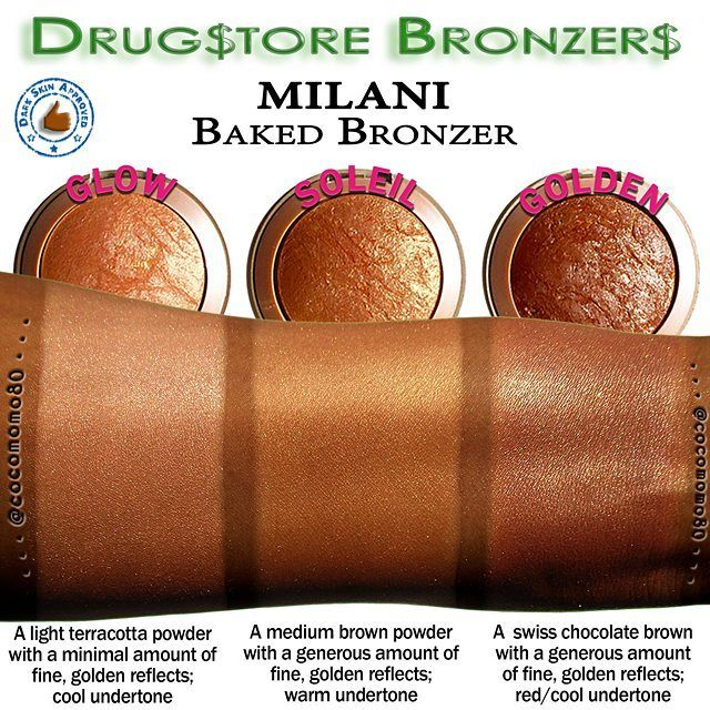 Drugstore Bronzers: MILANI Baked Bronzer Swatches BONUS (for deep skin)  My Collection  Im featuring the 3 of the 5 bronzers from the Baked Bronzer line: (04) GLOW (05) SOLEIL