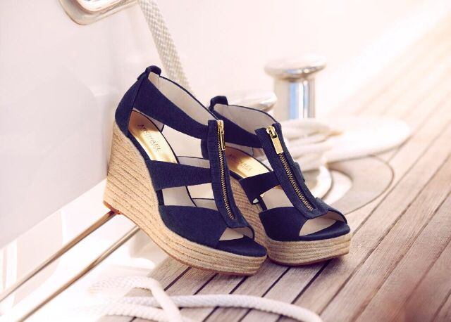 Michael Kors Navy Blue Wedges with Gold Detailing for the Modern Gladiator