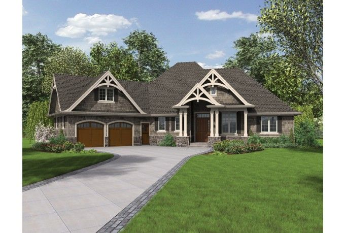 Check out this new one-story Craftsman plan: it's got an open island kitchen, cozy outdoor living (with a fireplace!), and lots of space in the master bathroom. Click through to see the layout for plan HWEPL76501.