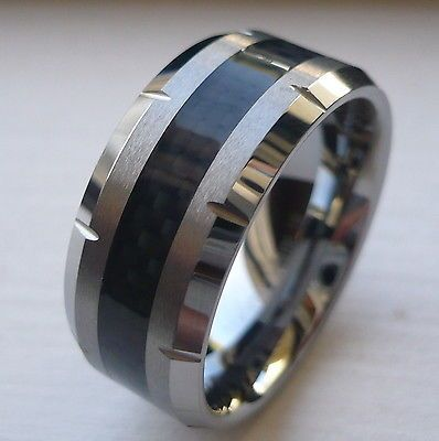 Trendy MM MEN uS TUNGSTEN CARBIDE WEDDING BAND RING with BLACK CARBON FIBER SIZE