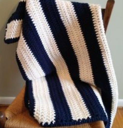 The Navy/Cream Small Throw offers a lot of warmth and comfort in a small size. This throw would work great as a lap throw, especially for a person in a wheel chair. It's small size would also work great for children or as a travel blanket in the car..