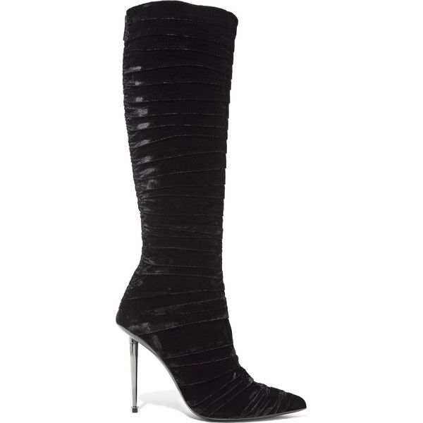 TOM FORD Ruched velvet knee-high boots (£2,060) ❤ liked on Polyvore featuring shoes, boots, black pointed toe boots, velvet boots, pointed toe boots, knee high heel boots and high heel boots