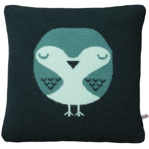"""""""Hello Robin"""" I first spotted this cute cushion range in John Lewis, but hail from Donna's workshop in East London. Hand-knitted from lambswool and filled with duck feather, they're quirky and quality."""