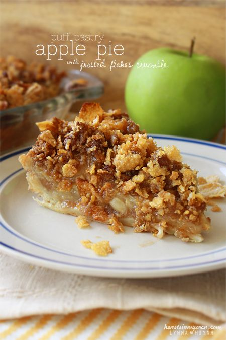 Hearts in My Oven: Puff Pastry Apple Pie w/ Frosted Flakes Crumble @Lynna H