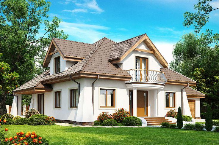 Dom jednorodzinny w stylu tradycyjnym - biała elewacja, brązowych dach, balkon, garaż