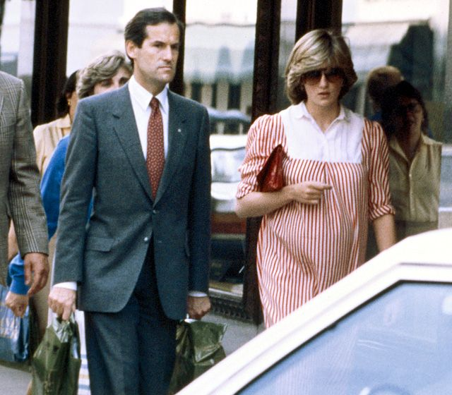 January 1982 The pregnant royal dressed her baby bump in a striped tunic while shopping at Harrods in London.