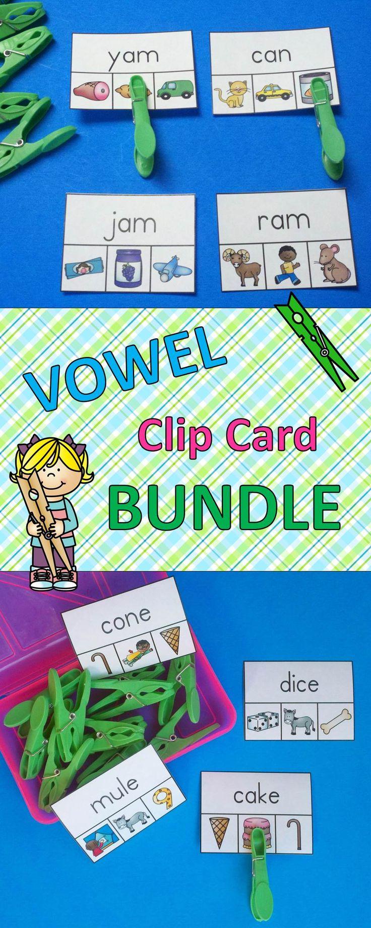 Phonics Fun for Your Little Learners!  This money saving bundle addresses long and short vowels as well as bossy R.  $ #bundle  #phonics #vowels  #kampkindergarten #bossyR  #longvowels #shortvowels  https://www.teacherspayteachers.com/Product/Vowel-WordPicture-Clip-Cards-Bundle-2266836